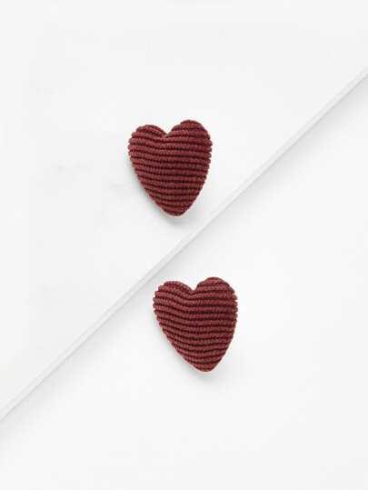 Ribbed Heart Stud Earrings