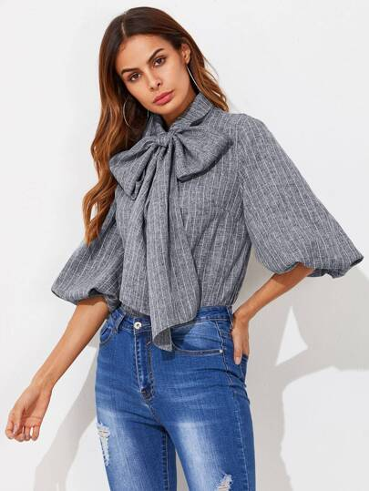 Exaggerated Lantern Sleeve Tied Neck Striped Blouse