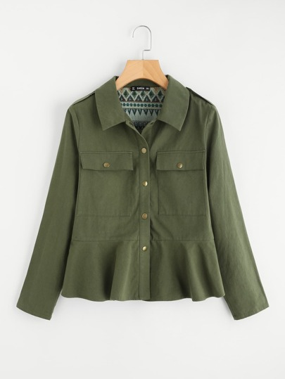 Buttoned Up Pocket Front Utility Jacket