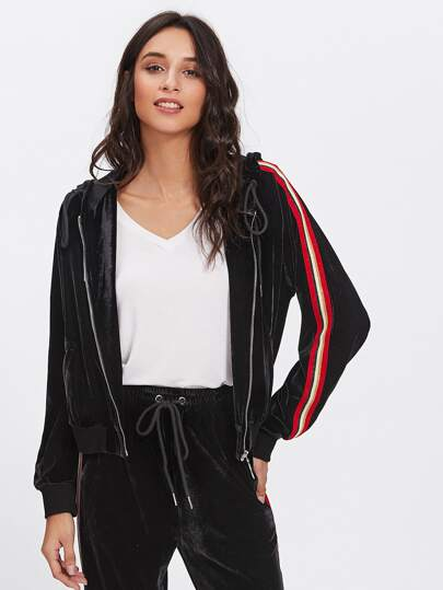 Striped Raglan Sleeve Velvet Jacket