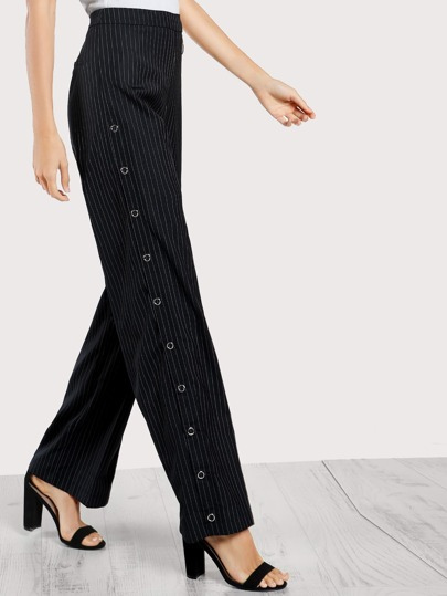 High Rise Lace Up Striped Pants DARK NAVY