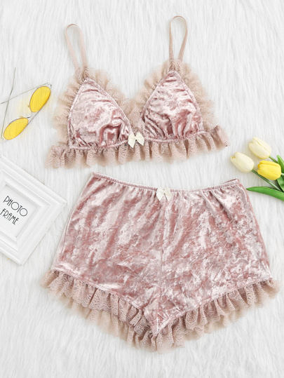 Lace Trim Crushed Velvet Bralette & Shorts Pj Set