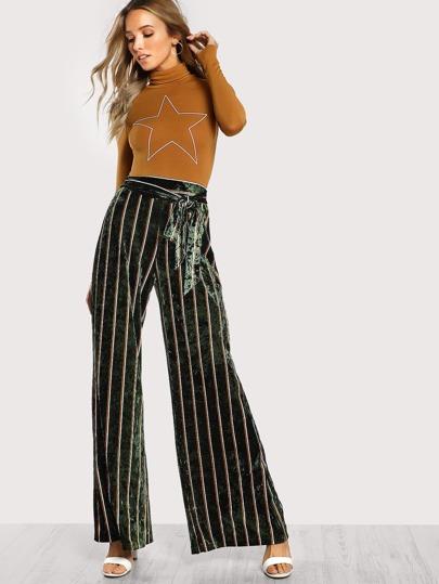 Pantalones de terciopelo a rayas con pernera ancha