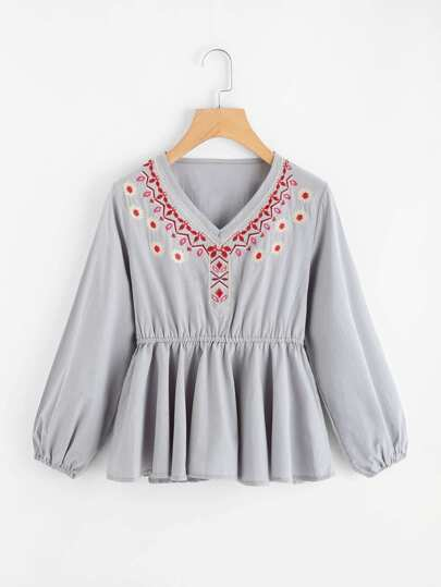 Lantern Sleeve Embroidered Peplum Top