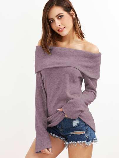 Off Shoulder Foldover Knit T-shirt