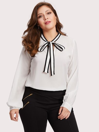 Self Tie Neck Blouse