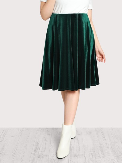 High Rise Velvet Skirt GREEN