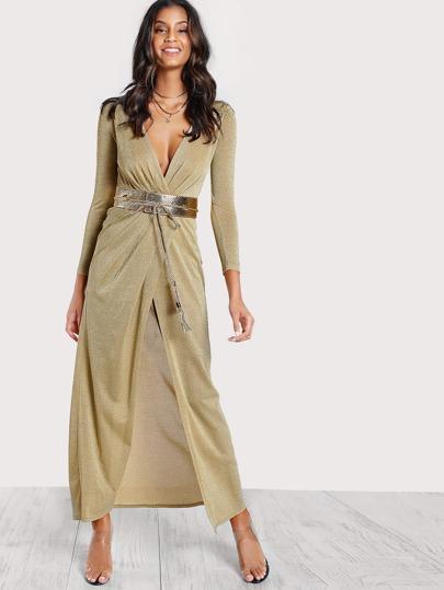 Belted Front Slit Dress GOLD