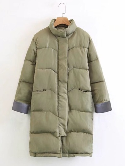 Contrast Cuff Padded Coat