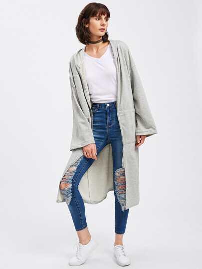 Drop Shoulder Dual Pocket Longline Hooded Coat
