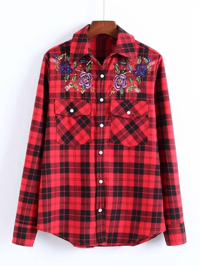 Flower Embroidery Plaid Blouse