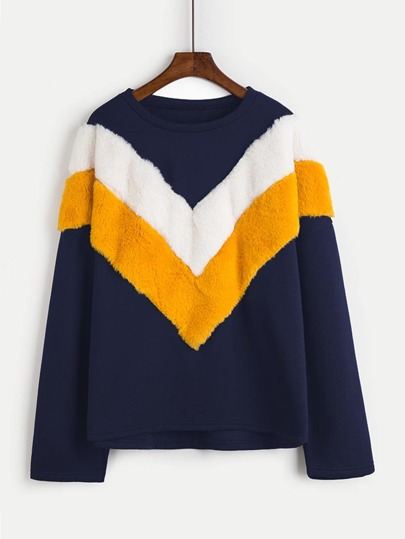Contrast Faux Fur Chevron Panel Pullover