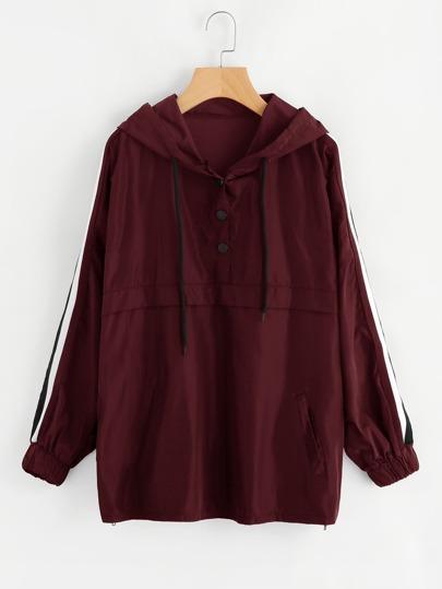 Hooded Striped Sleeve Jacket