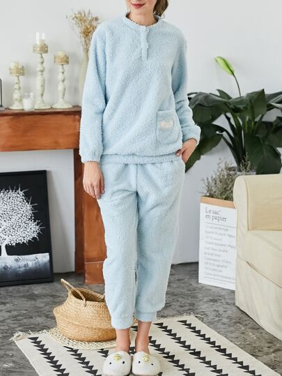Embroidered Plush Pullover & Pants Pajama Set