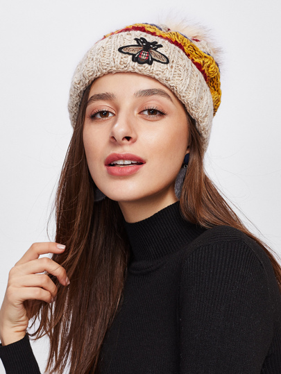 Insect Patch Pom Pom Beanie