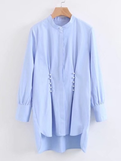 Faux Pearl Pleated Detail High Low Blouse