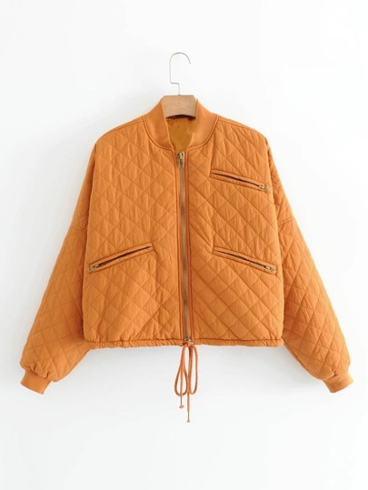 Zipper Detail Quilted Jacket