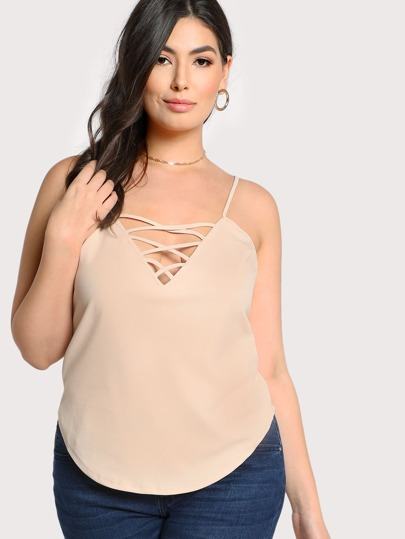 Cut Out Spaghetti Strapless Top BEIGE