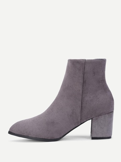 Almond Toe Block Heeled Suede Ankle Boots