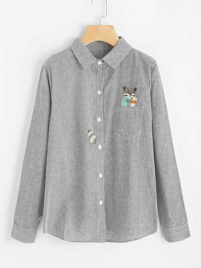 Fox Embroidery Front Pocket Striped Blouse