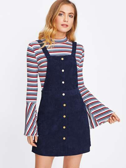 Button Front Pocket Side Overall Dress