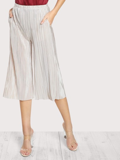 Pleated Sparkle High Rise Pants IVORY