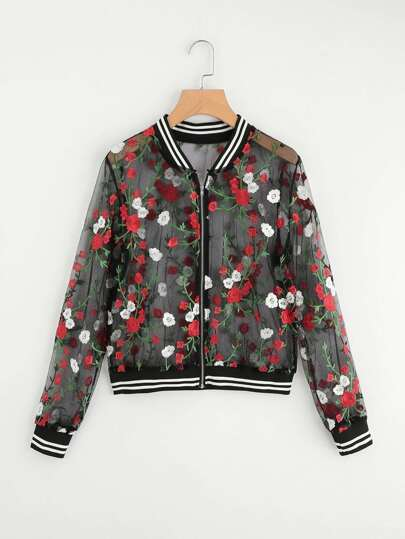 Embroidery Mesh Striped Bomber Jacket