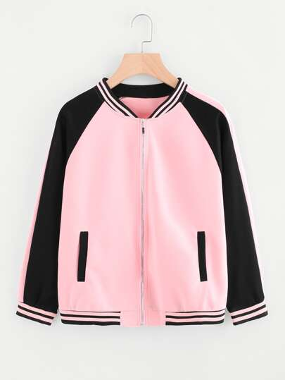 Two Tone Striped Trim Baseball Jacket