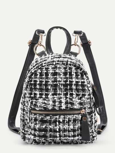 Pocket Front Tweed Backpack