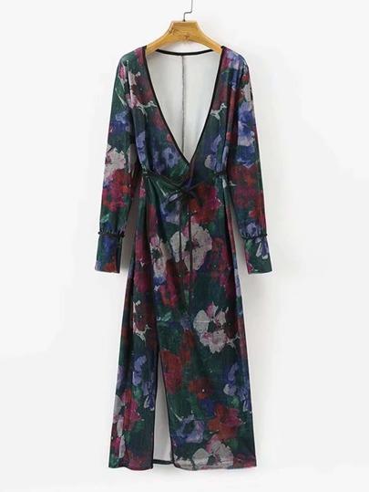 Kimono floreale in velluto