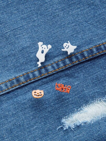 Ghost And Pumpkin Design Brooch Set