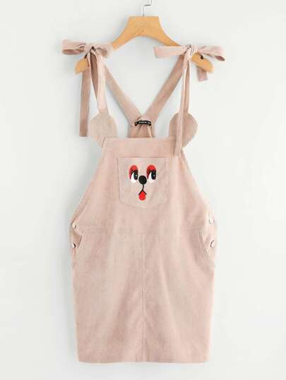 Self Tie Shoulder Animal Pattern Pinafore Dress