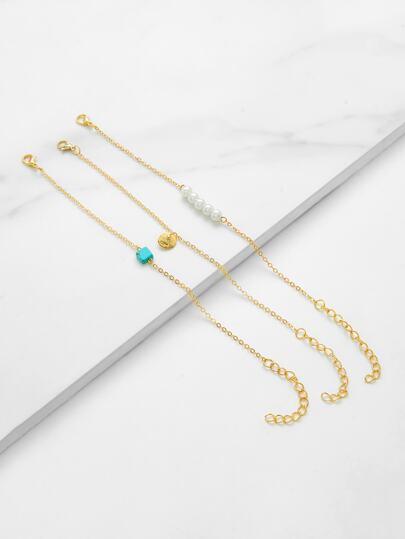 3 piezas de brazalete con perla de imitación