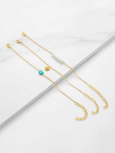Faux Pearl Charm Chain Bracelet 3pcs