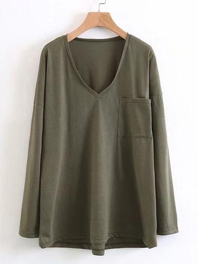 Camiseta asimétrica de cuello en V