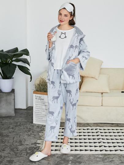 Elk Pattern Plush Pajama Set