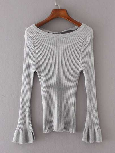 Tie Back Ribbed Knit Sweater