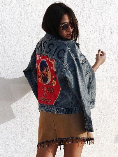 Модная джинсовая куртка с текстовым принтом