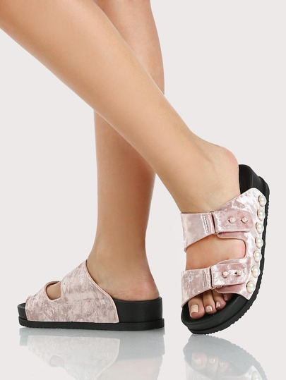 Pearl Studded Double Band Sandals MAUVE