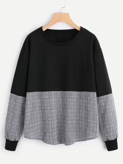 Contrast Tartan Plaid Drop Shoulder Sweatshirt
