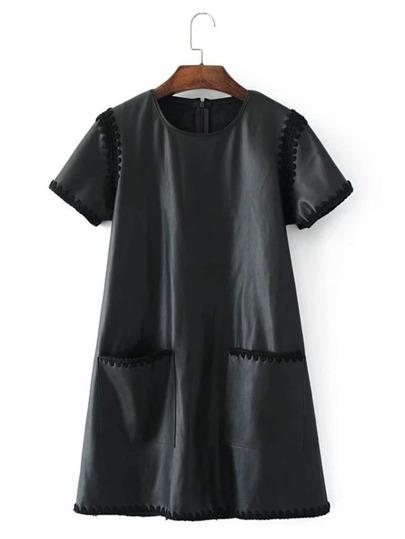 Модное кожаное платье