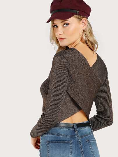 Glimmer Cross Front Long Sleeve Top ROSE GOLD