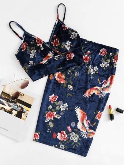 Top soutien-gorge en velvet floral & Jupe