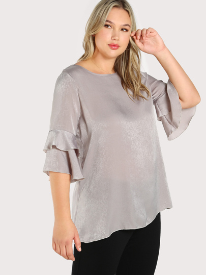 Buttoned Keyhole Back Layered Fluted Sleeve Top