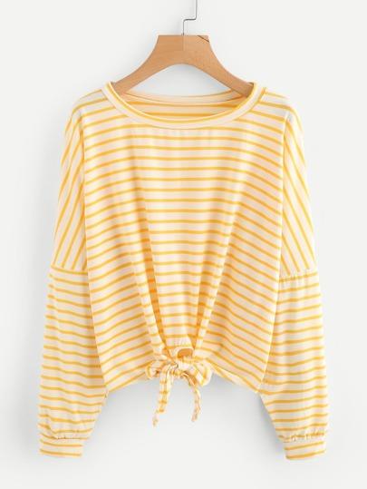 Tee-shirt à rayures avec nœud avant et la chute de l\'épaule