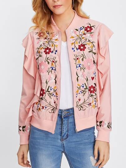 Botanical Embroidery Flounce Bomber Jacket