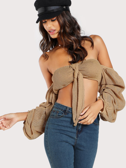 Volume Sleeve Crop Top MOCHA
