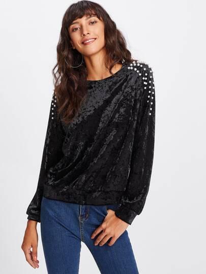 Camisa de terciopelo con manga raglán y perlas