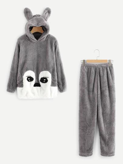 Rabbit Ear Hooded Top And Pants Pajama Set
