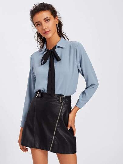 Self Tie Neckline Shirt
